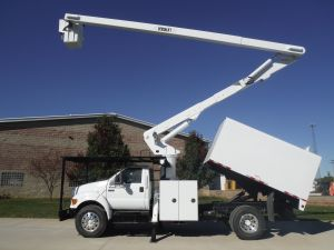 2008 FORD F-750 11 FT ARBORTECH FORESTRY BODY 65 FT WORK HEIGHT VERSALIFT MODEL BOOM