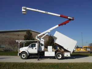 2005 FORD F750 12 FT ARBORTECH FORESTRY BODY 60 FT WORK HEIGHT TEREX HI-RANGER XT55 MODEL BOOM
