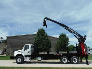 2010 FREIGHTLINER BUSINESS CLASS M2 20 FT FLATBED PRENTICE 2124-BC REAR MOUNTED GRAPPLE BOOM