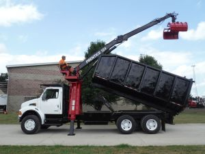2004 STERLING ACTERRA 20' DUMP BED 26.5' REACH PRENTICE 124 LOG LOADER