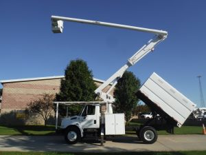 2003 INTERNATIONAL 4300, 11' SOUTHCO FOESTRY BODY, 63' WORK HEIGHT ALTEC LRV58 MODEL BOOM