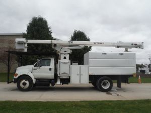 2011 FORD F750, 11' FORESTRY BODY, 75' WORK HEIGHT TEREX HI-RANGER XT60-70 ELEVATOR MODEL BOOM
