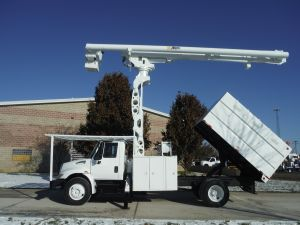 2005 INTERNATIONAL 4300, 11' SOUTHCO FORESTRY BODY, 75' WORK HEIGHT ALTEC LRV60-70 MODEL BOOM