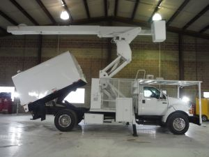 2008 FORD F750, 11' ARBORTEC FORESTRY BODY, 75' WORK HEIGHT LIFT ALL LSS-60170-15 ELEVATOR MODEL BOOM