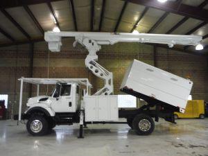 2009 INTERNATIONAL 7300 4X4, 11' ALTEC FORESTRY BODY, 75' WORK HEIGHT ALTEC LRV 60-70 ELEVATOR MODEL BOOM