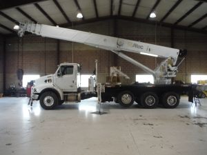 2008 STERLING LT9500, 18' ALTEC FLATBED, 167' W/JIB ALTEC AC38-1275 5 SECTION WORK HEIGHT MODEL CRANE
