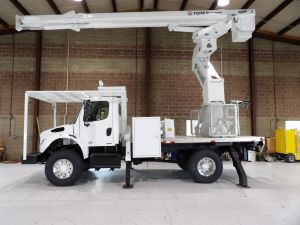 2011 FREIGHTLINER M2 4X4, 11' ALTEC ALUMINUM FLATBED, 75' WORK HEIGHT TEREX HI-RANGER XT60-70 REAR MOUNT ELEVATOR MODEL BOOM