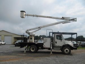2012 FREIGHTLINER M2 106 10 FT FLATBED 65 FT WORK HEIGHT TEREX HI-RANGER XT 60 REAR MOUNT MODEL BOOM