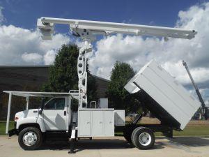 2009 GMC C7500, 11' FORESTRY BODY, 75' WORK HEIGHT ALTEC LRV60-70 ELEVATOR MODEL BOOM