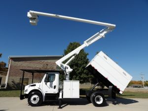 2011 FREIGHTLINER M2 106, FORESTRY BODY, 60' WORK HEIGHT ALTEC LRV55 MODEL BOOM