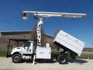 2011 INTERNATIONAL 4300, FORESTRY BODY, 75' WORK HEIGHT ALTEC LRV60-70 ELEVATOR MODEL BOOM
