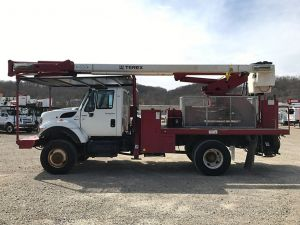 2011 INTERNATIONAL 7300 WORKSTAR 4X4, FLATBED, 75' WORK HEIGHT TEREX HI-RANGER XT60-70 REAR MOUNT ELEVATOR MODEL BOOM