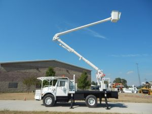 2000 International 4700 55 ft. work height Aerial Lift AL50 model boom Factory Rear Mount