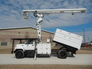 2002 GMC C7500 11 ft. Southco forestry body, 75 ft. work height Altec LRV 60-70 Elevator Unit, Will be painted white