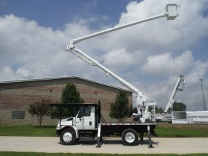 2004 International 4300 12 Ft. Flatbed 60 Ft. Work Height Aerial Lift Of Conn. ALC60/50 Model Boom